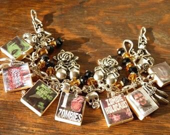Zombie Bracelet, Zombie Apocalypse, Walking Dead Jewelry, Halloween Jewelry, Halloween Bracelet Goth Jewelry, Scrabble Skull Jewelry OOAK #3