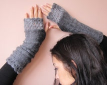 Elegant Hand knitted Fingerless Gloves in charcoal and grey shades