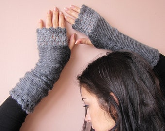 Gray Fingerless Gloves Long Arm Warmers Knitted Mittens Hand Knit Gloves Wrist Warmers Crochet Fingerless Gloves Womens Christmas Gift Her