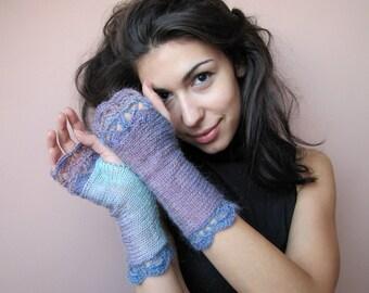 Fingerless Gloves Womens Arm Warmers Elegant Fingerless Mittens Lace Wrist Warmers Crochet Gloves Gift for Her Lavender Purple Gloves