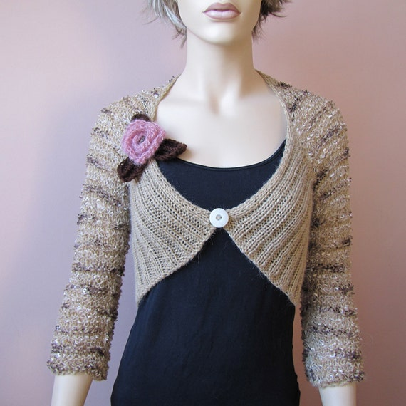 SALE 50% Bolero / shrug / scarf / cowl in shimmering beige, brown and cream