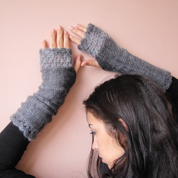 GRAY, Fingerless Gloves, Arm Warmers, Long Knitted Mittens, Hand Knit Gloves, Womens Wrist Warmers, Crochet Gloves, Gray Fingerless Gloves