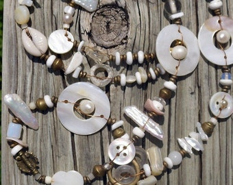 Ocean's Bounty, Ocean Inspired Genuine Pearl,Antique African Trade Bead, Vintage Button, Vintage Mother of Pearl, Assemblage Necklace