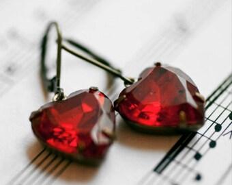 Pure Romance Sweet Heart Red Glass Jewel Earrings,HollywoodHillbilly