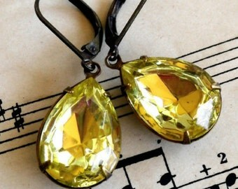 Lemon Zest, Estate Style Jonquil Yellow Teardrop Rhinestone Earrings