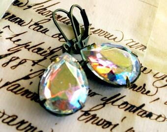 Flaming Ice Aurora Borealis Estate Style Vintage Crystal Pear Jewel Earrings