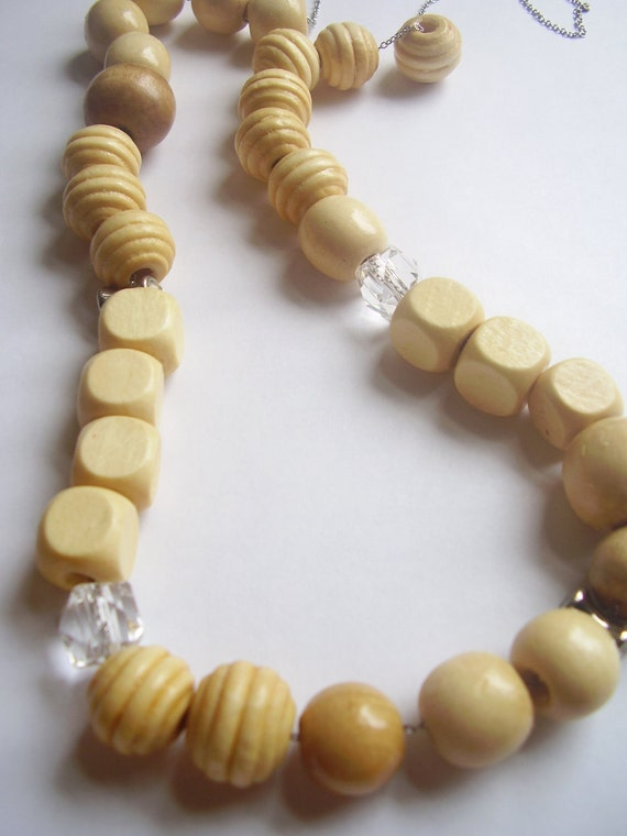 Wood cream tan boho beachy silver rhinestone clear and chain long necklace