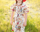 Red, Blue, Green, Cream, Retro Vintage Cowgirl Dress, for girls, toddlers, RVCD11