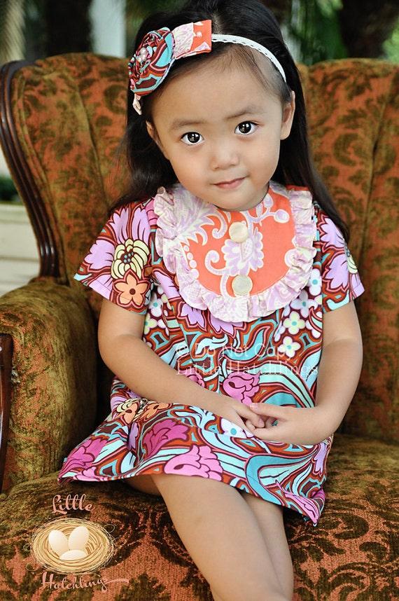 Sale!  50% Off!  Ready to ship!! Pink, Orange, Maroon, Aqua, Peasant Bib Dress, for girls, toddlers, PBD9