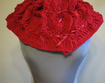 SALE knitted red scarf with ribbon detail - 1920s inspired