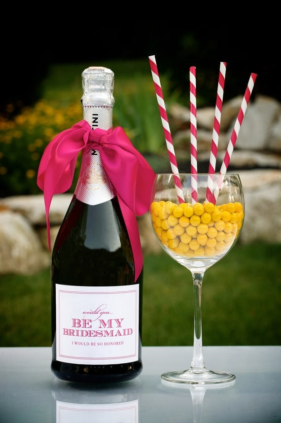 Be My Bridesmaid - Champagne Bottle Label SET OF SIX by Abigail Christine Design