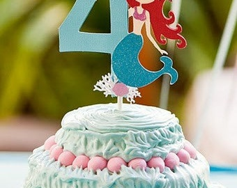 Mermaid Cake Topper  - table decor  Custom age and color available