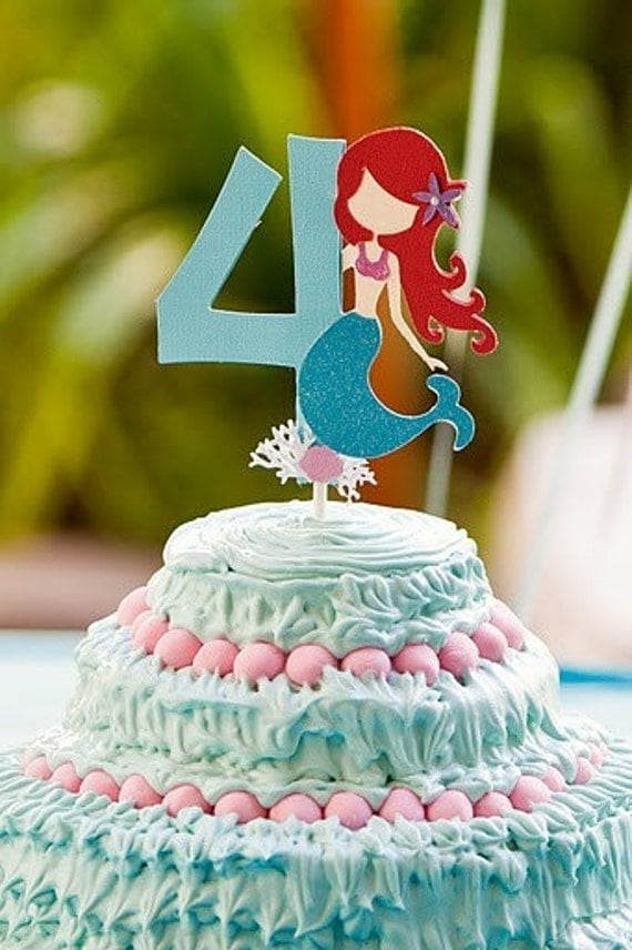 Mermaid Cake Topper Table Decor Custom Age And Color