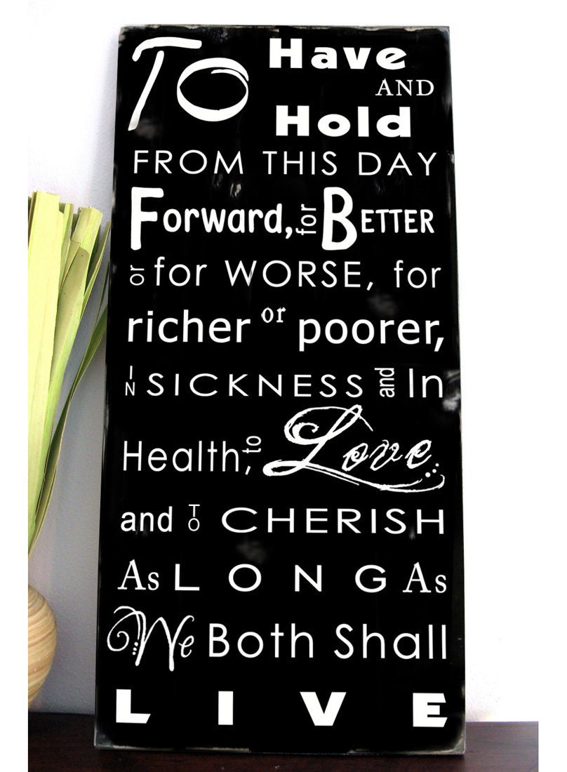 WEDDING VOWS Typography Word Art Sign Customize With Your