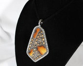 Mosaic Pendant Geode-Abstract pendant with sliced agate pieces amber brown mosaic jewelry wooden beads unisex jewelry
