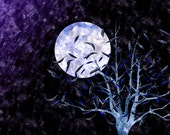 Full Moon Tree with Scattered Leaves, purple night sky royal blue moon, nature scene, 8 x 8 in print, bright modern art metallic finish