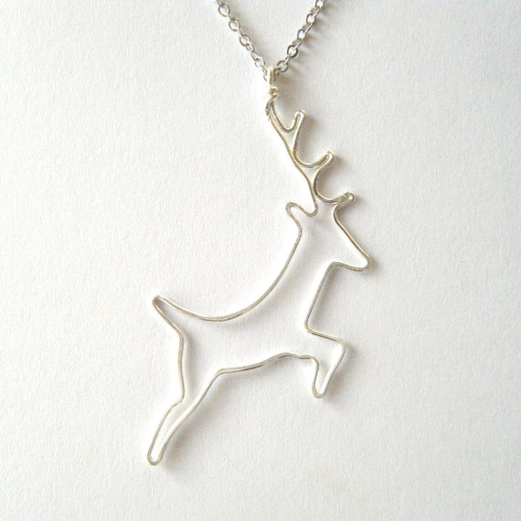 Deer Necklace - Silver Deer Pendant, Stag Pendant, Woodland Jewelry, Wire Work Silhouette Jewelry, OOAK - 'Oh Deer'