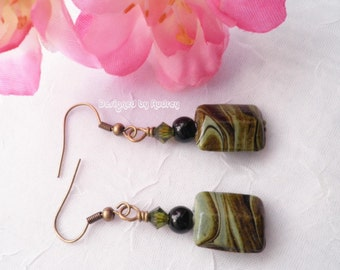 Green Lampwork Earrings - Green and Brown Swirls Lampwork with Crystals
