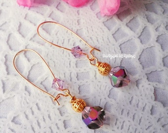 Purple Crystal Earrings - Purple Earrings