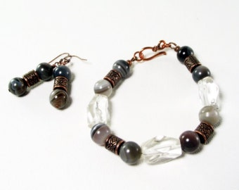 Boswana Agate and Crystal Quartz Bracelet and Earring Set