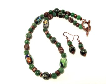 Green Necklace Set - Green Aventurine with Colorful Green Blue and Copper Lampwork Necklace and Earrings With Kambaba Jasper