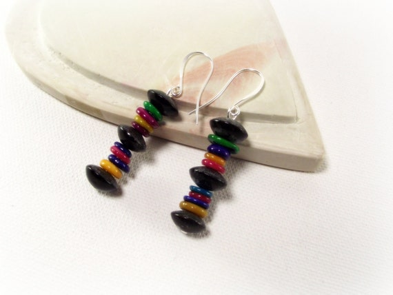 Funky Colorful Mother of Pearl Earrings - Colorful Pearl Stack Earrings