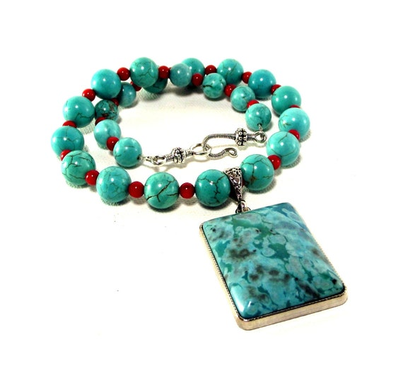 Turquoise Jasper and Red Sea Coral Necklace and Earring Set