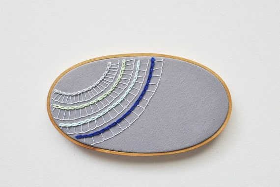 SALE - Modern Lace Embroidery in Grey and Blue - Embroidery Hoop Art - Inspired by an Ocean Microbe