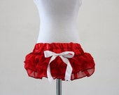 Red ruffled  delight  baby bloomers diaper covers in vintage glamour style - photo prop