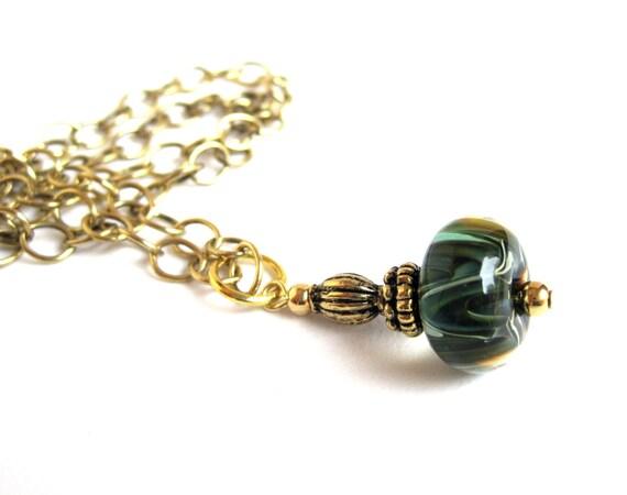Boro Bead Necklace, Brass Chain, Green Blue Borosylicate Bead, Gold Beaded Dangle