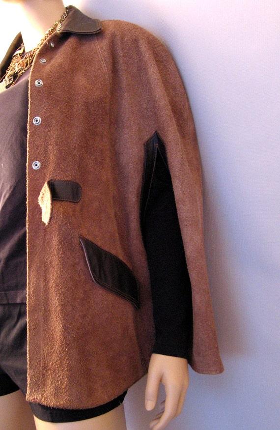 Vintage Brown Camel Suede Leather Cape Jacket
