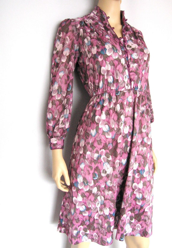 Vintage 70s Feather Printed Purple Dress