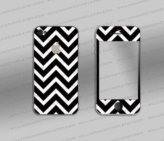 Iphone 4 4s Skin- Chevron Black and White Pattern - Sticker Decal Cover