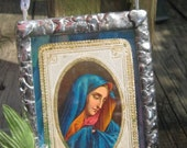 Antique Our Lady of Sorrows Mater Dolorosa Stained Glass Catholic Keepsake