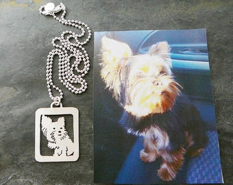 Your Dog Pendant Necklace, Pet Portrait Yorkie Silhouette, Dog Art, Dog Memorial, Pet Memory Jewelry .. Open Back, Full Body