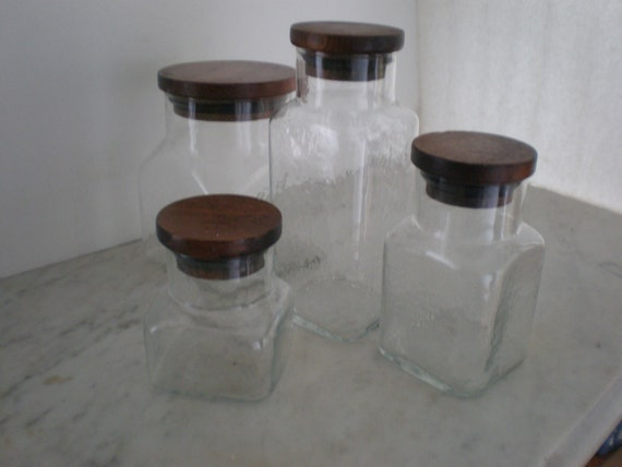 SALE Glass Canister Set with Teak Tops/ Mid Century