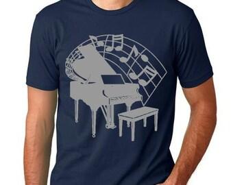 Piano T shirt cool Musician T-shirt screenprinted Pianist Tee