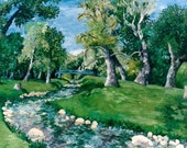 "Oil Painting PRINT - ""Summer At Marcellus Park""- 8X16- Al Plein Painting - Landscape Painting- Wall Art- Fine Art-Nature- Patty Fleckenstein"