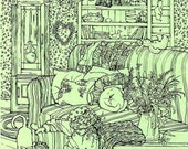 Art PRINT for Child's Room , Nursery, Print from original Pen and Ink Drawing,Pastel green, Little Girl, Cats, Cottage Chic, Homespun, 11x14