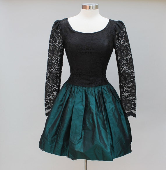80s vintage Gunne Sax prom dress, metallic teal, black lace, poofy, XS EXTRA SMALL