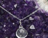 Clear Quartz Sterling Silver necklace | Silver necklace with Clear Teardrop | Clear Quartz faceted teardrop pendant | Clear Quartz and Gold