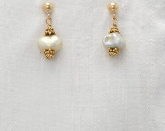 Pure Spirit Lemon Pearl earrings in Gold (Free-form pale yellow pearls, Gold Filled post backs and Vermeil beads)