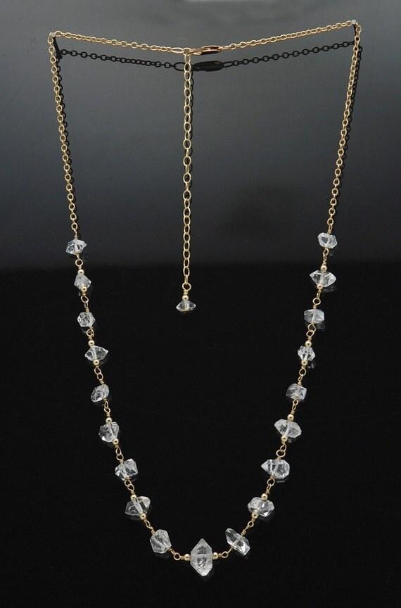Herkimer Diamond necklace / Herkimer Diamond Crystal / Diamond necklace / Herkimer and Gold / Herkimer Diamond Pendant / MANIFEST ABUNDANCE