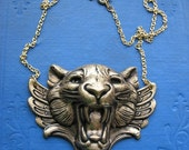 Victorian gothic golden winged tiger necklace