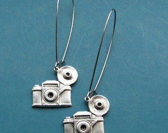 camera earrings - retro film photography jewelry