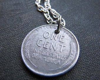 1943 steel penny necklace - silver penny coin jewelry