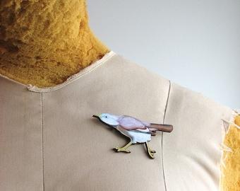 bird brooch pin - strutting bird
