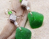 Sea Glass Earrings in Emerald Green with Celtic Charm and Glass Bead Accents on Sterling French Ear Wires EG 12