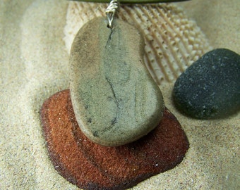 Reversible Beach Stone Necklace on Leather Cord with Sterling Silver Wrap S 19