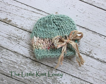 Shabby Chic Beanie for Baby with Silk Ribbon Accent in Surf, Beautiful Photography Prop